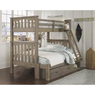 Hillsdale Highlands Harper Twin over Full Bunk with Storage, Driftwood