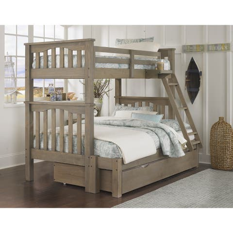 Highlands Harper Twin over Full Bunk with Trundle in Driftwood by Hillsdale Kids and Teen