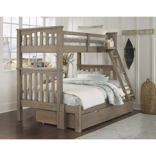 Hillsdale Highlands Harper Twin over Full Bunk with Trundle, Driftwood