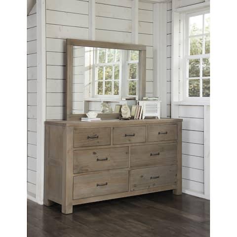 Highlands 7 Drawer Dresser with Mirror, Driftwood