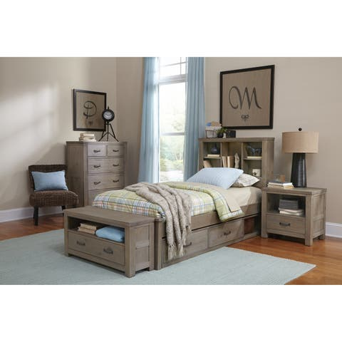 Highlands Twin Bookcase Bed with Two Storage units, Driftwood