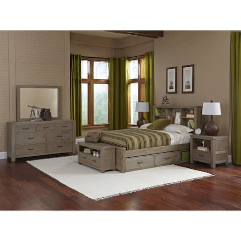 Hillsdale Highlands Full Bookcase Bed with Storage, Driftwood