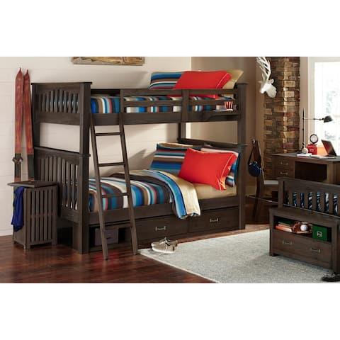 Highlands Harper Full over Full Bunk with 2 Storage Units, Drfitwood