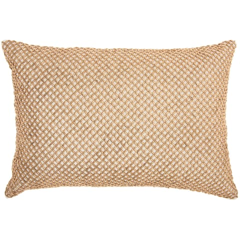 Inspire Me! Home Décor Beaded Lattice Cream Throw Pillow by Nourison (14-Inch X 20-Inch)