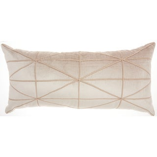 """Inspire Me! Home Décor Embellished Criss Cross Beige Throw Pillow (14"""" x 30"""" ) by Nourison"""
