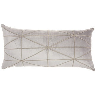 "Inspire Me! Home Décor Embellished Criss Cross Light Grey Throw Pillow (14"" x 30"" ) by Nourison"
