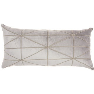 """Inspire Me! Home Décor Embellished Criss Cross Light Grey Throw Pillow (14"""" x 30"""" ) by Nourison"""