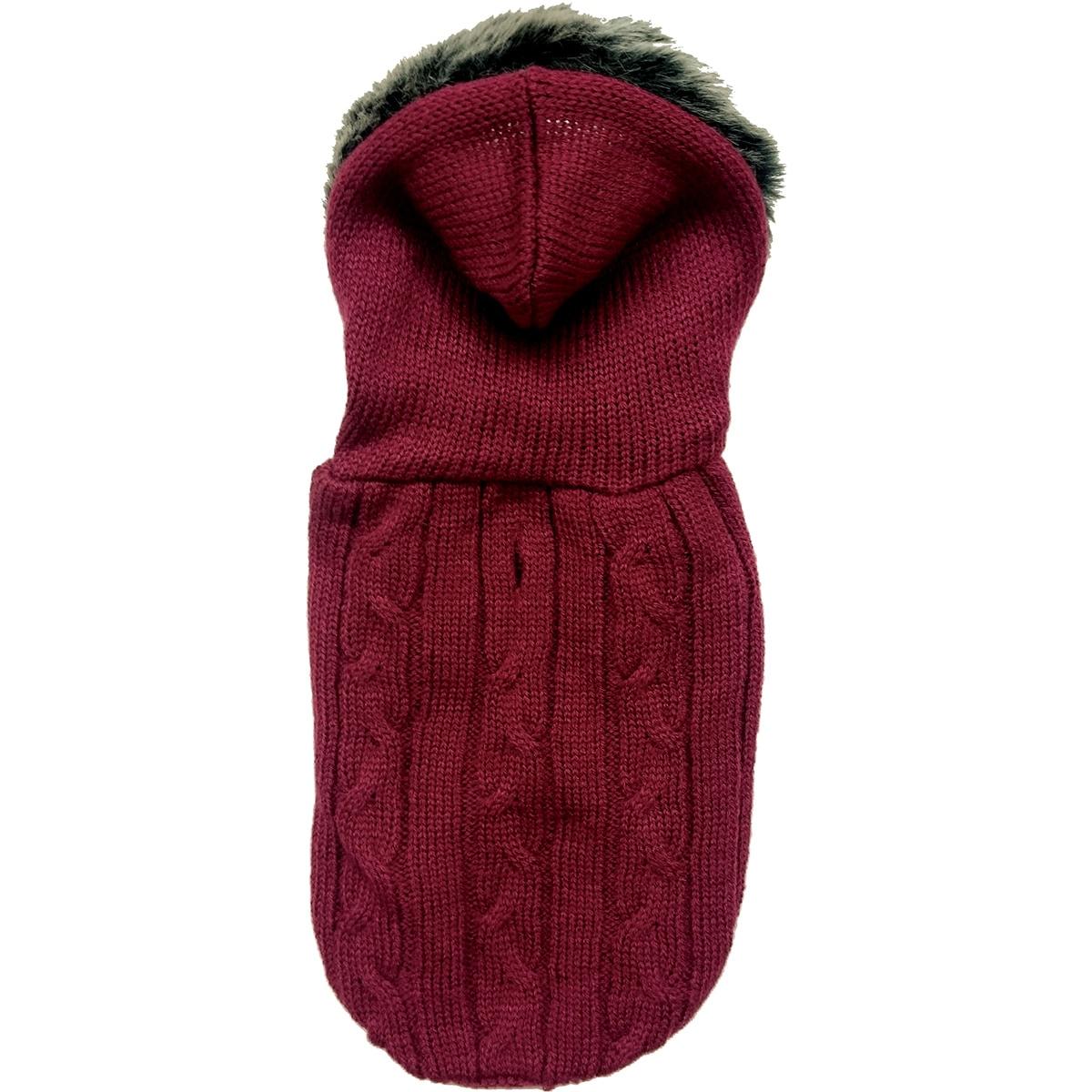 Ethical Pets Fashion Pet Faux Fur Hooded Sweater (Merlot ...