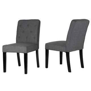 Cortesi Home Lyndon Grey Linen Fabric Dining Chair with Tufted Back (Set of 2)