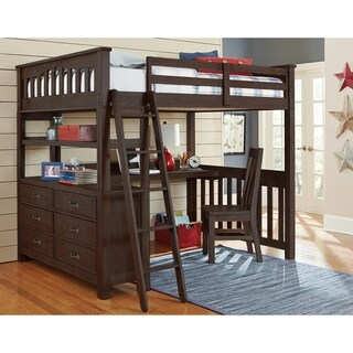 NE Kids Highlands Espresso Wood Full Loft Bed with Desk and Chair
