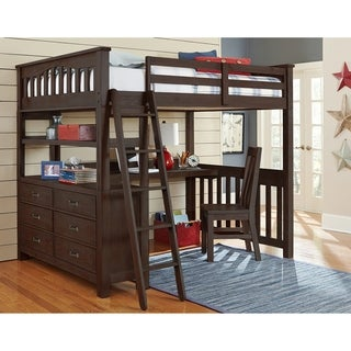 Highlands Full Loft Bed with Desk and Chair, Espresso