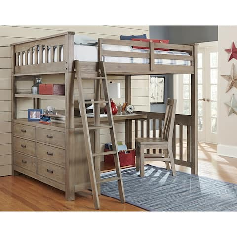 Highlands Full Loft Bed with Desk and Chair, Driftwood