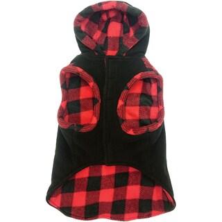 Fashion Pet Toggle Plaid Trim Coat