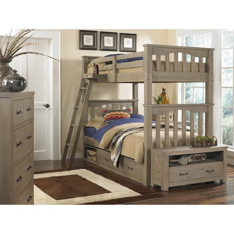 Highlands Harper Full over Full Bunk with 2 Storage Units, Hanging Nightstand, Drfitwood