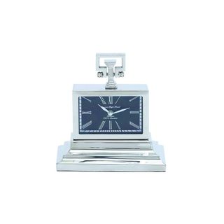 Stainless Steel and Nickel 10-inch High x 9-inch Wide Table Clock (As Is Item)