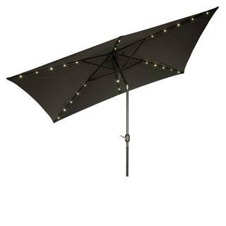 rectangular solar powered led lighted patio umbrella 10 x 65 by trademark - Black Patio Umbrella