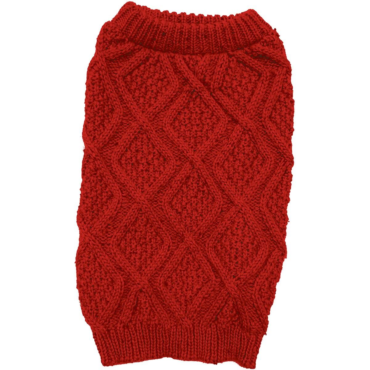 Ethical Pets Fashion Pet Fisherman Sweater (Red Medium)