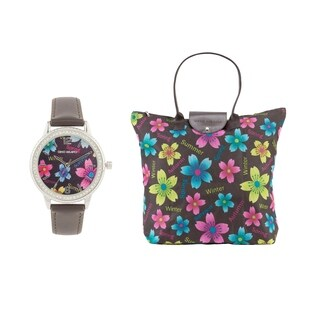 Women's Faux Leather Watch & Foldable Multipurpose Bag by GINO MILANO