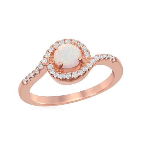 La Preciosa Sterling Silver Rose Gold Round White Opal Halo Cubic Zirconia Ring