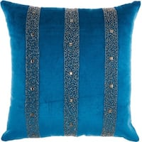 Inspire Me! Home Décor Beaded Stripes Royal Throw Pillow by Nourison (18-Inch X 18-Inch)