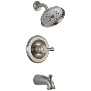 Delta Tub and Shower Faucet 1 Handle Leland Stainless Steel Finish Brass Material
