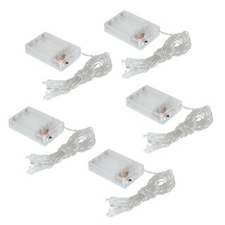 Battery Operated Mini String Lights w/Steady or Flashing Feature-Cool White 5-10ct