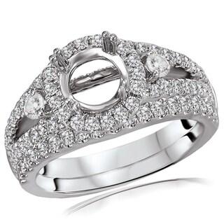Avanti 18K White Gold 1Ct TDW Split Shank Round Diamond Semi Mount Bridal Set (G-H, SI1-SI2)