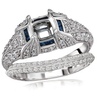 Avanti 18K White Gold 5/8Ct TDW Sapphire and Diamond Semi Mount Bridal Set (G-H, SI1-SI2)