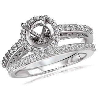 Avanti 14K White Gold 1/2Ct TDW Round Halo Semi Mount Diamond Bridal Set (G-H, SI1-SI2)