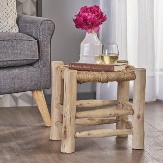 Sahara Jute Wood Stool by Christopher Knight Home - Natural