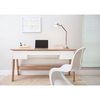 Modern Office Desk With 3 Drawers   Hanover/Off White