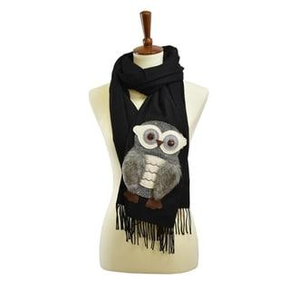 Le Nom Cashmere feel Owl Patch Faux Fur Scarf (Option: Ivory)
