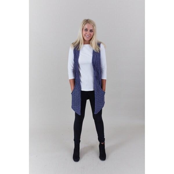 b18947c6d396 Shop Le Nom Big Pockets Cable Knit Vest - On Sale - Free Shipping On ...