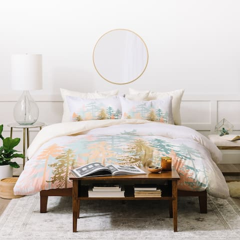 Deny Designs Blush Forest Duvet Cover Set (3-Piece Set)