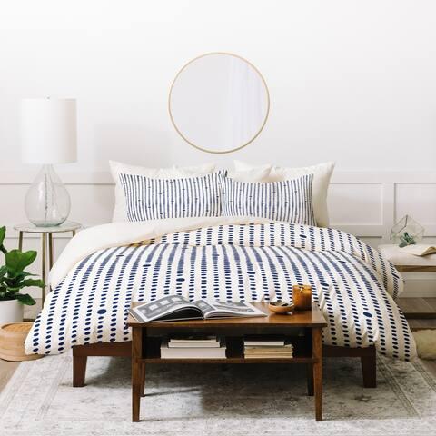 Deny Designs Blue Japandi Dots Duvet Cover Set (3-Piece Set)