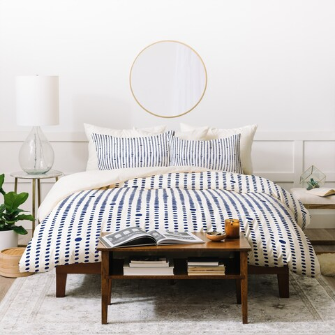 Deny Designs Blue Japandi Dots Duvet Cover Set (3-Piece Set)