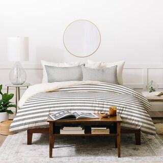 Deny Designs Stripes In Grey Duvet Cover Set (3-Piece Set)