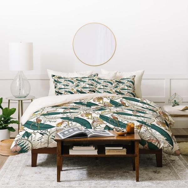 Deny Designs Orchid Floral Garden Duvet Cover Set (3-Piece Set)