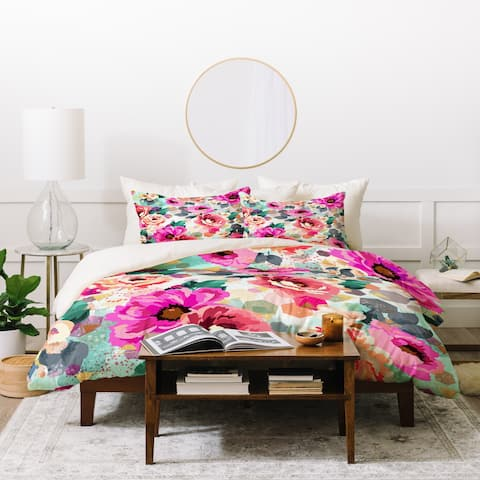 Deny Designs Abstract Geometrical Flowers Duvet Cover Set (3-Piece Set0