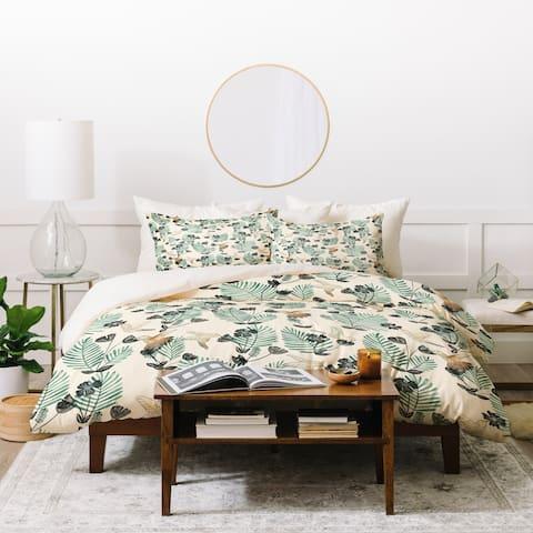 Deny Designs Palm Leaves and Birds Duvet Cover Set (3-Piece Set)