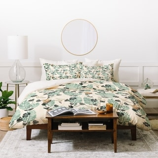 Deny Designs Palm Leaves and Birds Duvet Cover Set (3-Piece Set)