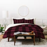 Deny Designs Winter Fucshia Plaid Duvet Cover Set (3-Piece Set)