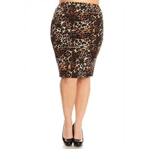 Women's Plus Size Cheetah Pattern Fitted Pencil Skirt