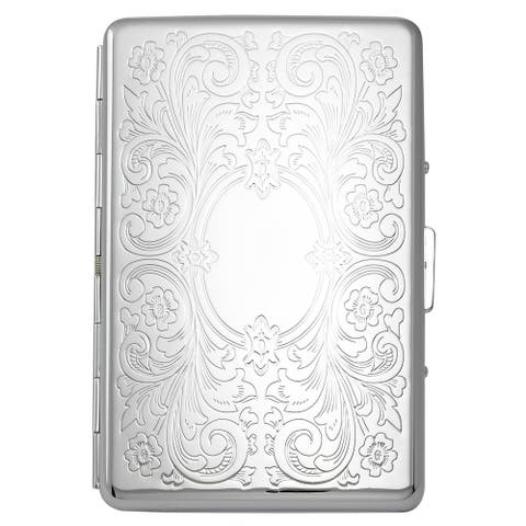 Visol Victoria Floral Pattern Cigarette Case - Holds 18 100mm Size Cigarettes