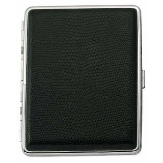 Visol Johnny Black Leather Cigarette Case - Holds 20 100mm Sized Cigarettes
