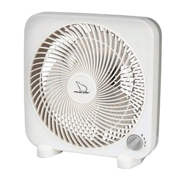 Polar Aire Box Fan 11.18 in. H x 10.63 in. L x 4.88 in. W x 9 in. Dia. 3 speed AC 3 blade White