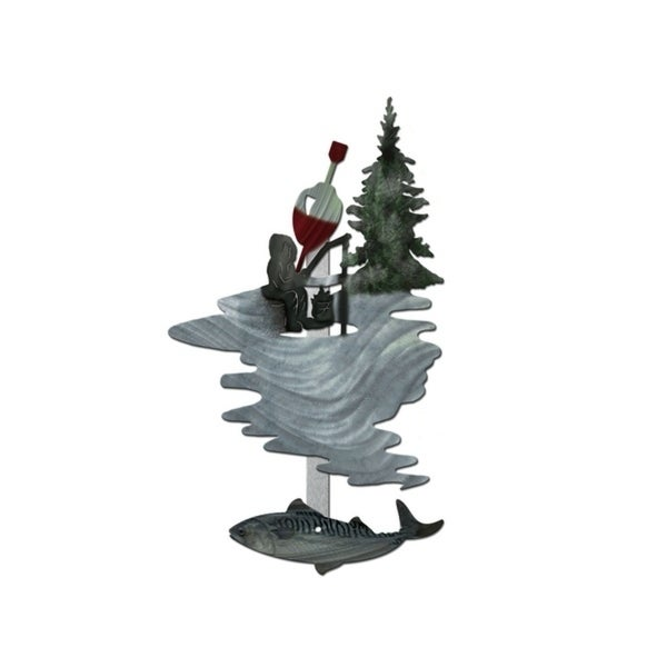 Metal Wall Art Fisherman Icefishing Ash Carl