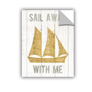 ArtAppealz Michael Mullan's Beachscape V Boat Quote Gold Neutral, Removable Wall Art Mural