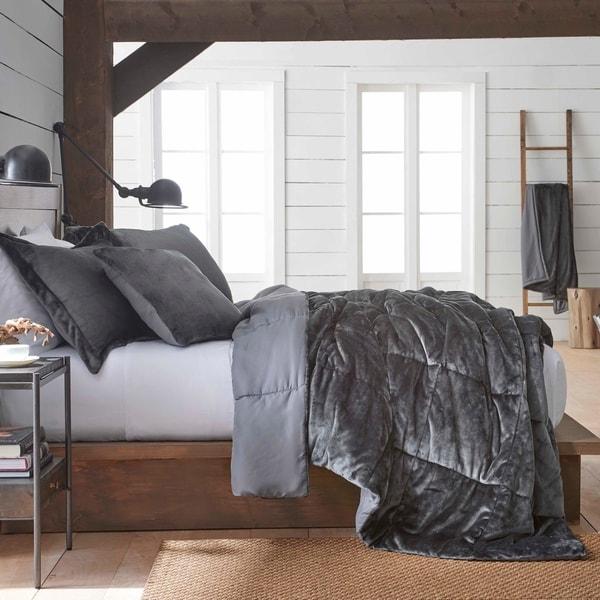 Shop Vellux Plush Microfiber Grey Comforter Set Free