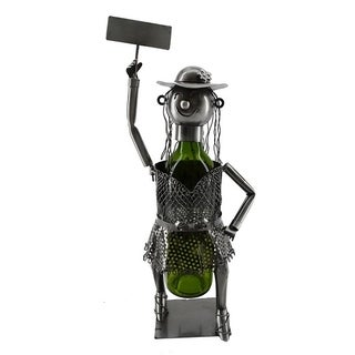 Wine bottle holder by Wine Bodies, lady with the sign